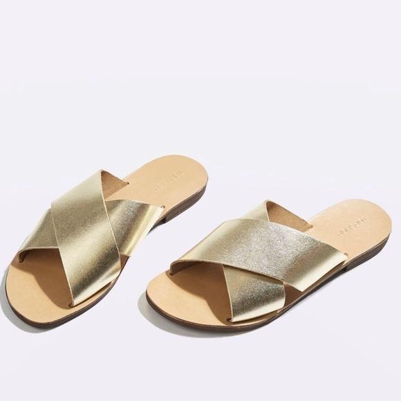 Topshop Shoes - Topshop gold slip on sandals